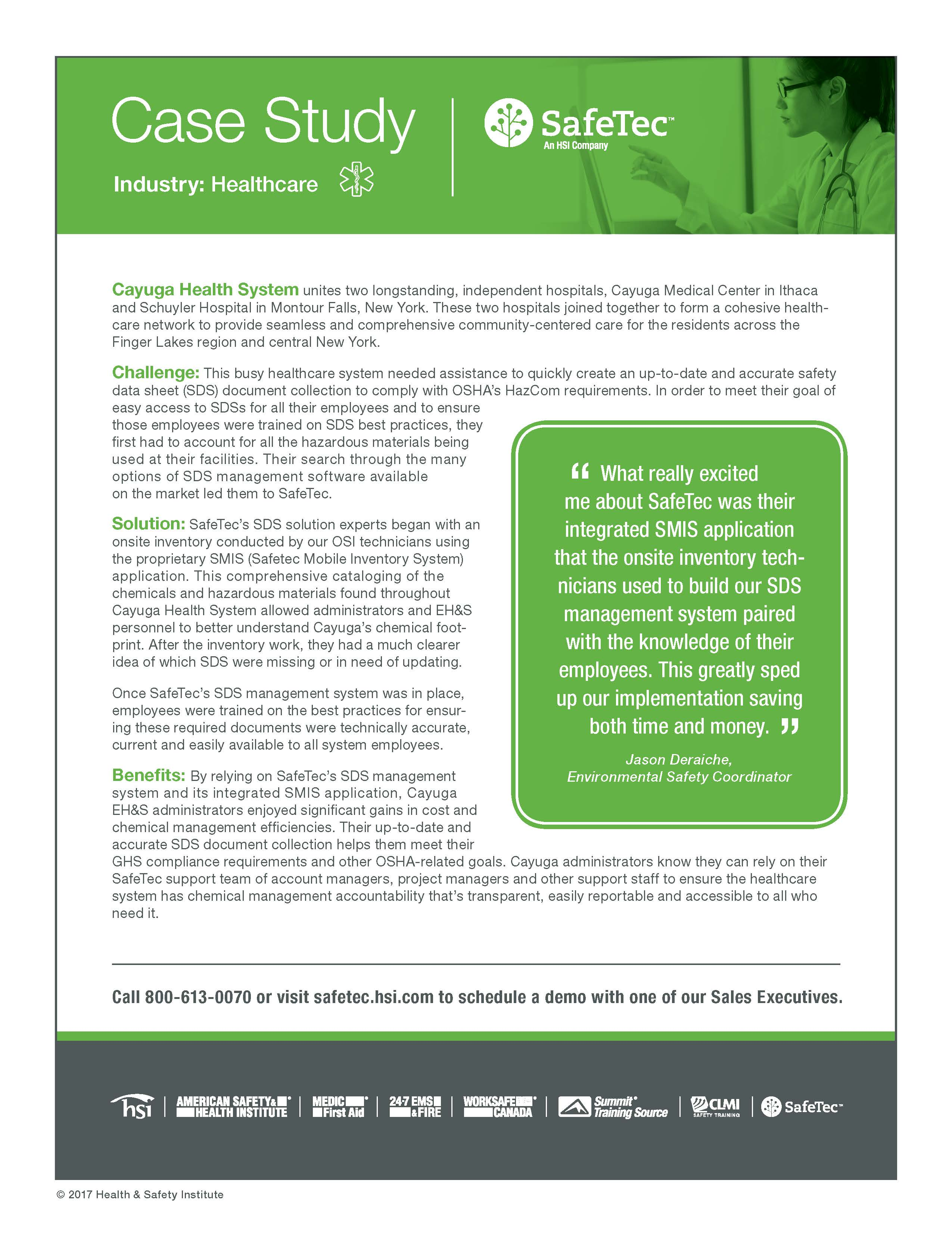 Cayuga Health Systems SDS Management Case Study