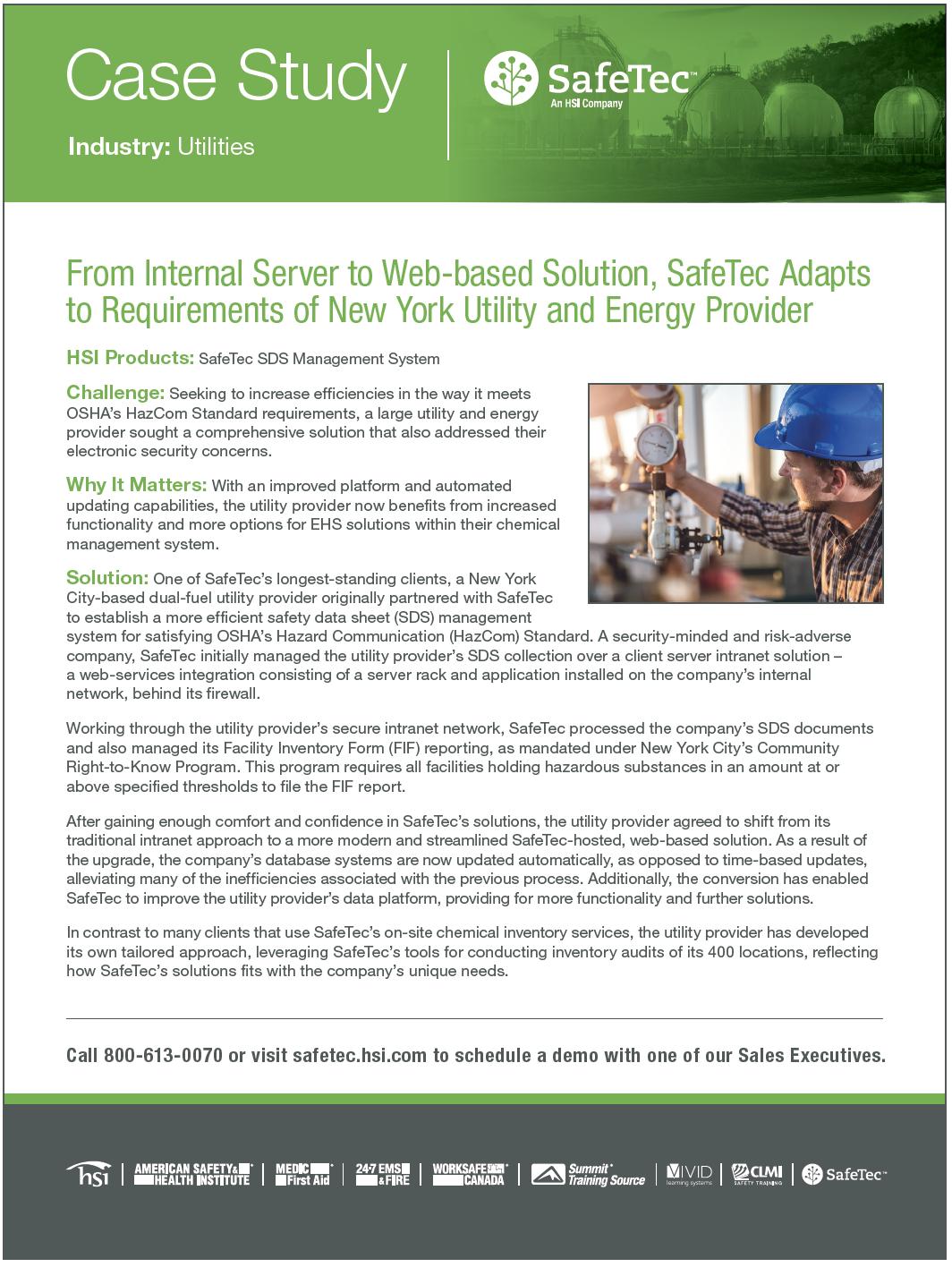 New York Utilities Provider SDS Management Case Study